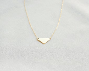 Petite Gold Triangle Necklace (14k gold filled triangle necklace, geometric, gold fill triangle necklace, layering, flat pendant, minimal)