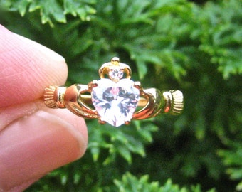 Vintage Yellow Gold over 925 Sterling Silver CZ Claddagh Ring