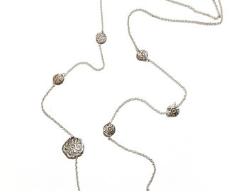 Pattern Stamped in Sterling Silver  Long Necklace, Unique Silver Jewelry, Fine Jewelry,