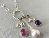 Reserved Custom , Baroque Pearl, Amethyst and Garnet and Pink Tourmaline Charm Necklace in Silver