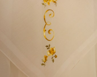 E Monogram Vintage White Hanky Embroidered Handkerchief Initial E Variegated Gold Yellow, Something Old Tears of Joy, Fall Colors