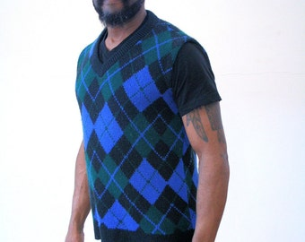 60s Blue Argyle Sweater Vest M, 1960s Acrylic Blue Green Sweater Vest, Preppy Sweater, Hipster Vest, Size Medium