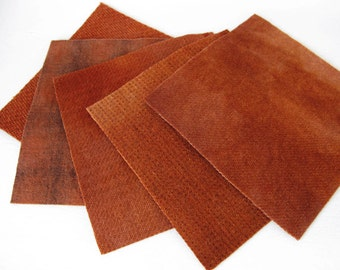 "Hand Dyed Felted Wool Fabric in Burnt Orange  5"" x 5""  Wool Charm Pack of 5"