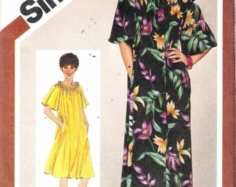 """Vintage 1980 Simplicity 9844  Pullover Muu Muu in Two Lengths Sewing Pattern Size 18 - 20 Bust 40"""" - 42"""" UNCUT"""