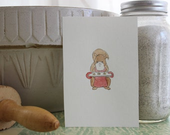 Cookie anyone? Squirrel Baker Original Ink and Watercolor Drawing