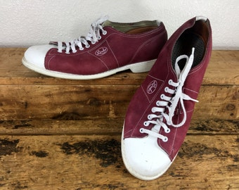 Vintage Mens Linds Bowling Shoes Size 10 Burgundy and White