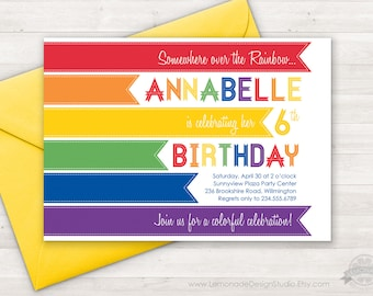 Rainbow Invitation - Modern Rainbow Birthday Party Invitation - Rainbow Party - Colorful Invitation - Somewhere Over the Rainbow - Printable
