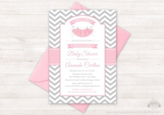 tutu cute baby shower invitation chevron pink grey girl baby