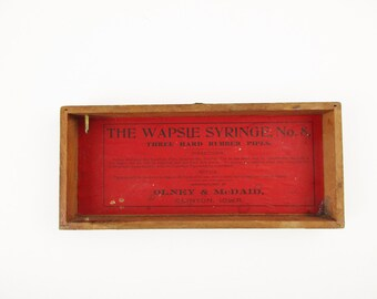 Lid Only For Wood Box - Red Paper Tag With 'The Wapsi Syringe, No. 8' - Dark Wood - Fun History - Multiple Uses - Tray - Steampunk - Creator