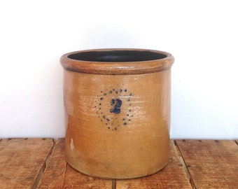 Antique Crock, 2 Gallon Crock with Cobalt Decoration, Dark Honey Color with Turkey Droppings on Base, Starbust Design, Dotted Circles