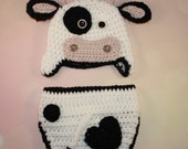 Baby Cow Set - Crochet Cow Set - Baby Cow Hat - Farm Animal Hat - Newborn Photo Prop - Cow Costume - Newborn Halloween Costume - Newborn Hat