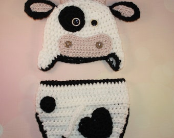 Baby Cow Outfit - Crochet Cow Set - Baby Cow Hat - Farm Animal Hat - Crochet Baby Outfit - Newborn Photo Prop - Newborn Halloween Costume