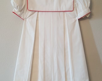 Vintage Girls White Dress with Red Trimmed Collar- Size 2t New, never worn