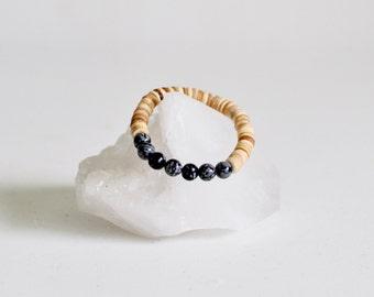 Bracelet / Snowflake Obsidian + Natural Coconut Shell Bracelet / Black Quartz /  KO-MALA Yoga Bracelet / Healing Crystals / Blacktop