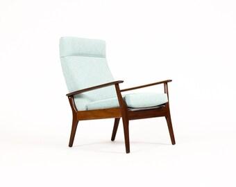 Danish Modern / Mid Century High Back Lounge Chair — Mahogany Frame — Seafoam green textile