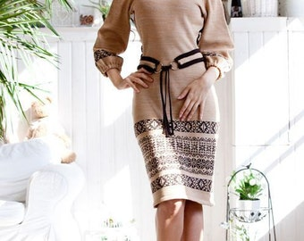"Knitted warm jacquard dress ""Teplo"" in brown tones with a stylish belt"
