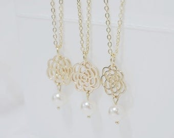 Ivory Swarovski Pearl Necklace  - Gold Flower - Bridesmaid Jewelry