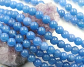 Lot of 5 strands 8mm Blue Agate Loose Spacer Beads Round 15 inch strand (BD5807)