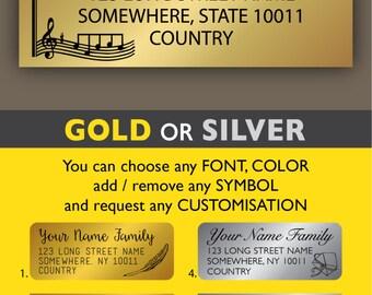 Custom address labels Return address label stickers Calligraphy Gold address labels Silver address stickers Music Treble clef