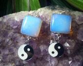 Mystical Opalite crystal Yin and Yang earrings