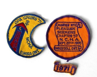 Vintage NCHA Patches Opa Spring 71 Elmira Ontario Canada  Charter Nite 1970 Ingersoll