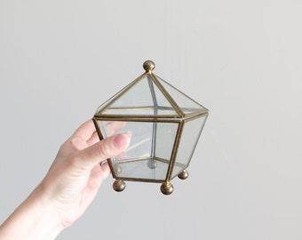"Vintage 6"" Glass Curio Display Box"