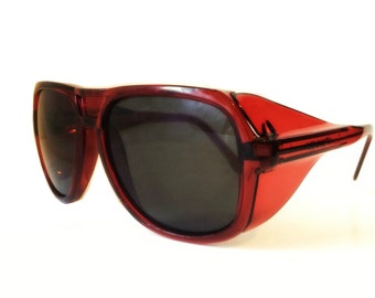 Red Aviator Sunglasses, Vintage Aviators, Red Pilot Safety Glasses, American Optical Flight Shades