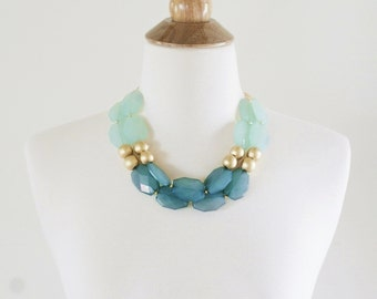 Mint and Teal Statement Necklace, Mint Statement Necklace, Chunky Beaded Mint Bib Necklace