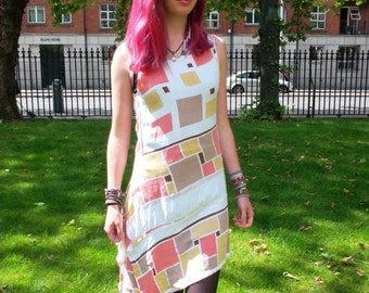Upcycled Printed Geometric White dress
