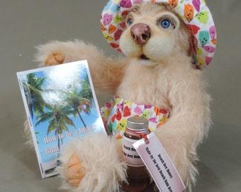 Artist Teddy Bear, George the Beach Bear, OOAK Mohair and needle felted face, collectible, handmade teddy, fully jointed