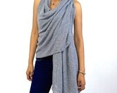 Open Back Wrap Vest - Grey Wrap, Summer Top, Sexy One Size Sexy