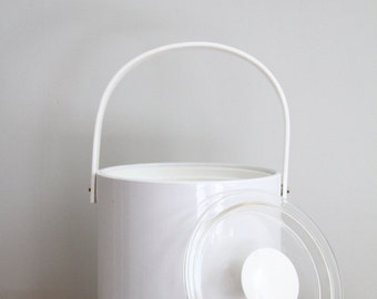 Vintage White Ice Bucket Patent Leather and Lucite Georges Briard 1970s Party Entertaining Barware