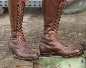 Fantastic men's  1930's brown lace up cap toe motorcycle, riding boots