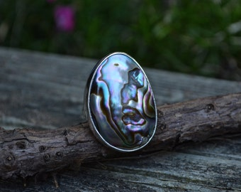 Abalone Shell Ring, Abalone Shell, Sterling Silver, Shell Ring, Size 8.25-8.5