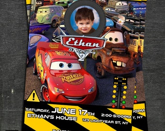 CARS, CARS, cars birthday invitation, lightning mcqueen invitation, Mc queen invitation S-5