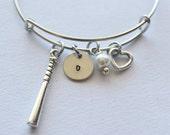 Baseball Bat Initial Bracelet - Charm Bracelet, Bracelet Charm, Baseball Gifts, Baseball Gift Ideas, Sports Gifts, Baseball Jewelry, Gifts