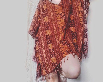 Orange Elephant fringe poncho,batwing,caftan dress,ethnic dress oversized ,ethnic dress,festival,beach cover boho hippie kaftan tribal dress