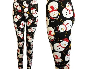 Festive Christmas Holiday Season Stretchy super soft Snowman Santa Clause Snowy Black blue Leggings pants tights plus small - plus size