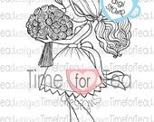 Bouquet Girl Digital Stamp