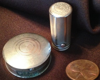 """Antique Miniature 1"""" Compact w/ Mirror & Lipstick ~ 1940s ~ Richard Hudnut ~ Perfect Size for Antique Doll Display ~ Silvertone"""