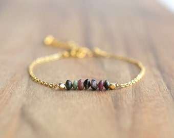 Gold Tourmaline Bracelet // 4mm Tourmaline Bead Bracelet // Bridesmaid Gift  // Tourmaline and Gold Bracelet // Gift for Her