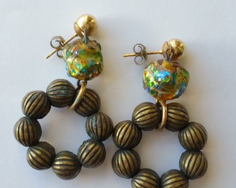 Vintage earrings with end of day glass beads
