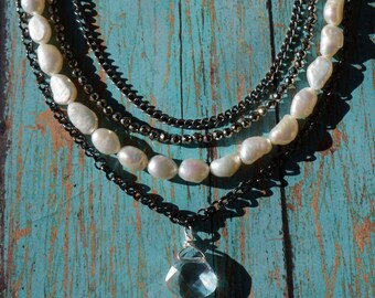 Pearl, Pyrite, Long Necklace, multilayered, Shabby Chic