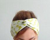 jersey knit headband twist headband knotted turban white dots head wrap head band sport hair accessory boho trendy  earwarmer retro style