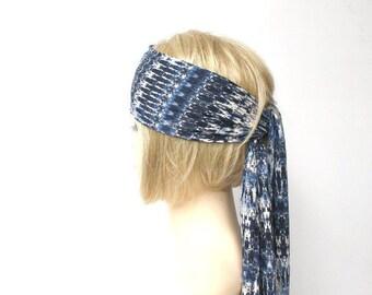 indigo head scarf hippie headband boho womens head wrap blue shibori thin headscarf ethnic summer music festival hair wraps beach hair cover