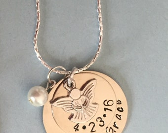 Personalized First Communion / Baptism Charm Necklace