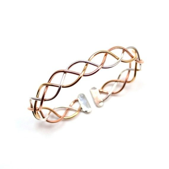 Braided Bangle - Tri Color Bracelet - Adjustable Braid Jewelry - Pink gold, Yellow gold, Sterling Silver