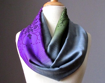 Ombre Infinity Scarf / floral scarf / ombre scarves / Grey / Purple / Green scarf