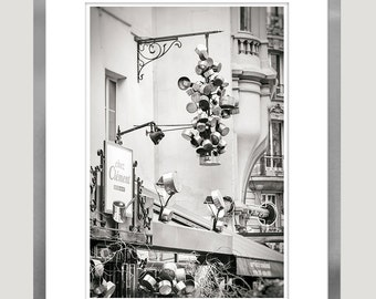 Large kitchen wall art, Paris cafe print, Paris black and white photography, grey kitchen wall decor, 12x18, 16x24, 20x30, large poster