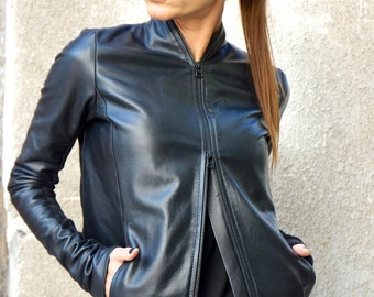 NEW Collection Extravagant Black Genuine Leather Coat / YKK Black Double Zipper / sided  pockets by AAKASHA A20361